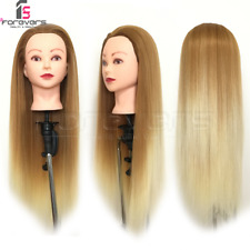 Training Head Hairdressing Mannequin Manikin Doll 100%Color Fiber Hair BrownGold
