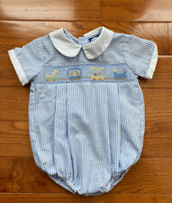 Carriage Boutiques Boys Blue White Smocked Bubble Romper Train Circus 6 Months