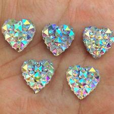 50Pcs Heart Shape Flat Back Crystal Rhinestone Beads DIY Ear Stud Jewelry Making