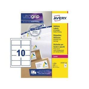 Avery Ultragrip Laser Address Labels 99.1x57mm 10 Per Sheet White1000 Pack L7173