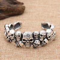 Men's Real 925 Sterling Silver Cuff Bracelet Skulls Punk Jewelry