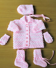 White and  Pink matinee set new 1-3 month coat bonnet boots mitts james brett