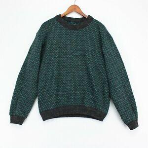 Vintage LL Bean Norwegian Wool Blend Sweater Mens Medium Gray Teal Purple