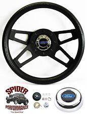 """1965-1966 Ford F-100 steering wheel BLUE OVAL 13 1/2"""" BLACK 4 SPOKE"""