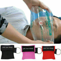 Erste Hilfe Reanimation CPR Gesichtsmaske Schild Schlüsselring Mund Neu Bes F8D6