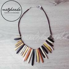 Natural Wooden Tribal Necklace Eclectic Ladies Retro Women Statement Bib Beads