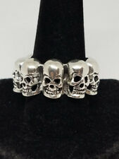 Circle of Skull Heads In a Row Silver Ring Size 12