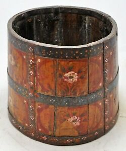 Vintage Wooden Round Planter Pot Original Old Hand Crafted Painted