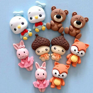 10 Pieces Assorted Cartoon Resin Animals Flatback Buttons for Crafts Decorations