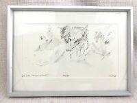 Originale Husky Cane Disegno Michael Fell British Royal Academy Artista Cornice