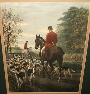 "E.A.S.DOUGLAS ""EVENING RETURN TO THE KENNELS"". COLORED ENGRAVING"