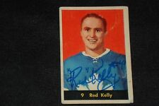HOF RED KELLY 1960-61 PARKHURST SIGNED AUTOGRAPHED CARD #9 MAPLE LEAFS
