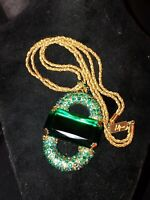 Vintage Green Faceted Glass And Rhinestone Gold Tone Statement Necklace