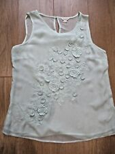 MONSOON GORGEOUS MINTY GREEN SLEEVELESS LONG TUNIC TOP UK 12 TINY DAISY APPLIQUE