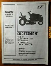 """Sears Craftsman 944.608972 16.5HP 46"""" Lawn Tractor Owner Operator & Parts Manual"""
