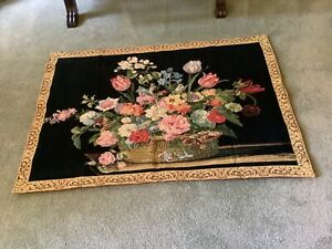 """LARGE FLORAL WALL HANGING WOVEN TAPESTRY 53"""" X 37"""" GORGEOUS MULTI-COLORS"""