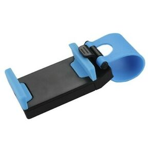 Universal Car Steering Wheel Clip Mount Holder Socket Mobile Phone iPhone Blue