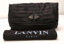 LANVIN Black Satin Ribbon Layered Pleated Pouch Clutch Handbag Bag Purse