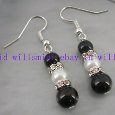 Natural 10-12mm Black & White South Sea Shell Pearl Dangle Earrings AAA+