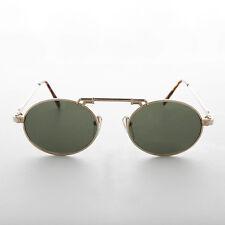 Gold Oval Steampunk Aviator Sunglass w/ Brow Bar Green Lens - London