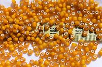 6/0  Antique Venetian Made In Italy Old Yellow White Heart  Seed Beads/1oz