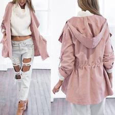 Fashion Womens Hooded Long Sleeve Coat Jacket Windbreaker Trench Parka Outwear