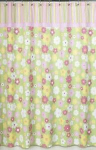BLOSSOM FLOWERS FLORAL PINK GREEN BATH FABRIC SHOWER CURTAIN SWEET JOJO DESIGNS
