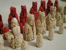 Isle of Lewis chess set - Red and Bone