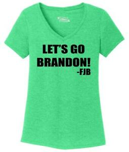 Ladies Let's Go Brandon FJB Triblend V-Neck Republican Anti Biden Political