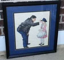 Framed Matted Vintage Needlepoint Policeman Placing Hat on Little Girl in Pink