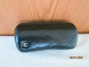 AUTHENTIC CHANEL BLACK QUILTED HARD SUNGLASSES CASE SIGNATURE CC LOGO ITALY