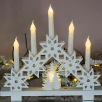 Pre-Lit Christmas LED Snowflake Wooden Candle Bridge Ornament Battery Xmas Decor