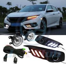 LED DRL Light Fog Lamp Harness Switch w/ Turn Signal Kit For Honda Civic 2016-18