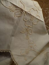 """Vintage Hand EMBROIDERED Floral Design crochet edge TABLECLOTH fit 21""""x21"""" table"""