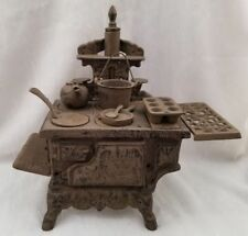 Vintage Cast Iron Crescent Miniature Toy/Sampler Stove with accessories