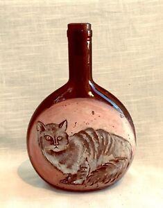 Vintage Folk Art Cat Painted Brown Glass Wine Bottle - Germany - circa 1940's