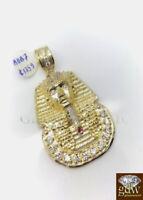 Real 10k Gold Egyptian Pharaoh Head Charm/Pendant 2 Inch, Men/Women, Angel,Cross
