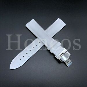 17MM ITALIAN LEATHER WATCH STRAP BAND FOR LADY CARTIER TANK FRANCAISE SOLO WHITE