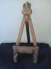 "Antique Carved Wood 21"" Easel Italy Florentine Gold Frame Holder Display Stand"