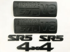 5X  All Black Metal TOYOTA TUNDRA SR5 i-FORCE 5.7L V8 4 X 4 Fender Trunk EMBLEMS