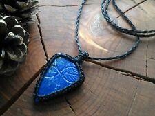 Macrame pendant Lapis Lazuli Blue Black Natural stone Boho Jewelry Bohemian