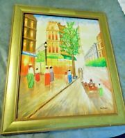 Mid Century Impressionist  De Caro Oil Painting Street Scene Paris  Signed/frmd