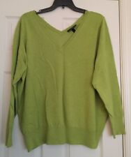 22/24 Lime Green V Neck Sweater Lane Bryant NWT Thin Knit Plus Size Double V