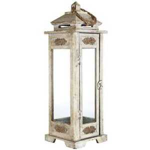 Tall Antique Gray Carved Wooden Lantern Farmhouse Country Shabby Chic NEW