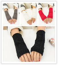 Women Winter Half Finger/Fingerless Gloves Wrist Arm Hand Warmer Knitted Mittens