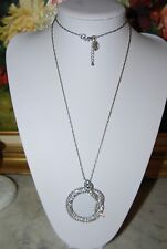 BOLD SPRING STREET SILVER TONED RHINESTONE ENCRUSTED SNAKE LUPE CHAIN NECKLACE