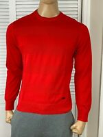 Armani Exchange Authentic Thin Cotton Striped Knit Sweater Red NWT