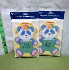 Baby Announcements Boy set of 16 vtg cards Panda Propeller Beanie 1980s Nwt