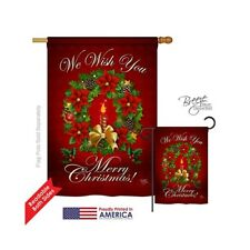 Breeze Decor Christmas We Wish You 2-Sided Vertical House Flag - 28x40 in.