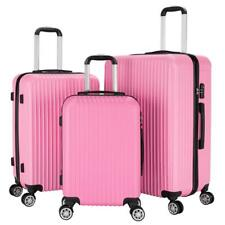 NEW 3pcs ABS Travel Luggage Set Boarding Suitcase Trolley w/ TSA Lock Pink